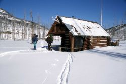Ranger Brian Chan & Dave Long at Calfee Creek cabin in the winter Photo