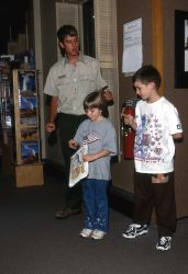 Unilever intern with Jr Rangers at the Albright Visitor Center at Mammoth Hot Springs Photo