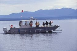 National Park Service boat with divers, headed out for spire collection Photo