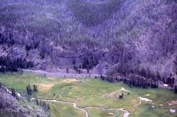 Aerial view of Obsidian Cliff & Obsidian Creek Image