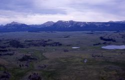 Aerial view of Swan Lake & the Gallatin Mountain Image