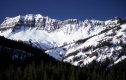 Amphitheater Mountains with snow as seen from Silver Gate, Montana Image