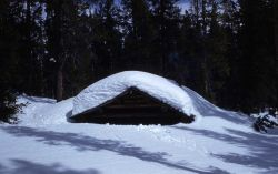 Crystal Creek patrol cabin in the winter Photo