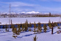 Mount Holmes & the Gallatin Range in winter as seen from the Madison River Photo