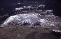 Aerial view of Mammoth Hot Springs Terraces Image