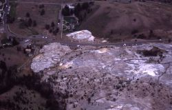 Aerial view of Palette Springs & Hymen Terrace - Mammoth Hot Springs Image