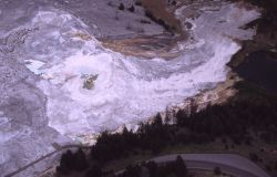 Aerial view of Canary Spring & Main Terrace - Mammoth Hot Springs Image
