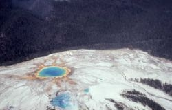 Aerial view of Grand Prismatic Spring & Excelsor Geyser - Midway & Lower Geyser Basin Image
