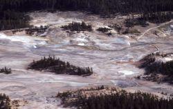 Aerial view of Porcelain Basin - Norris Geyser Basin Image