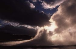 Great Fountain Geyser at sunset - Midway & Lower Geyser Basin Photo