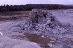 View of White Dome Geyser cone from bucket truck - Midway & Lower Geyser Basin Photo