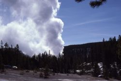 Steamboat Geyser as seen from parking lot - Norris Geyser Basin Photo