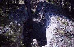 Eroded travertine fissure ridge in Upper Terrace area - Mammoth Hot Springs Photo
