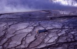 Grand Prismatic Spring - Silica Terraces - calothrix habitat - Hot Springs, Midway & Lower Geyser Basin Photo