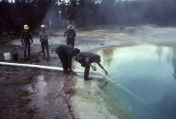 Morning Glory Pool - cleaning-siphon set up - Upper Geyser Basin Photo