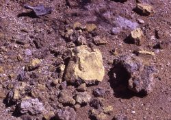 Sulfur crystals - Calcite Springs - Mineral deposits Photo