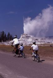 Visitors Cycling beside Castle Geyser Photo