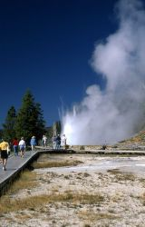 Visitors at Grand Geyser Photo