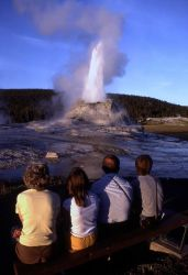 Visitors watching Castle geyser Photo