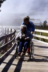 Wheelchair visitor at West Thumb Photo