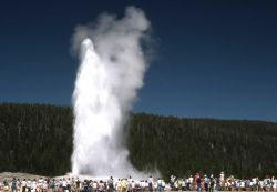 Croud watching Old Faithful erupt Photo