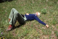 Tired hiker resting Photo