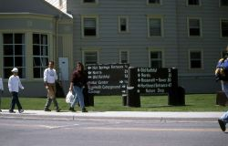 Visitors in front of Mammoth Hot Springs Hotel Photo