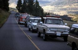 Emergency vehicles at motorhome accident near Elk Creek Photo