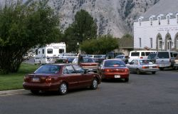 Summer traffic at Mammoth Hot Springs Photo