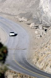Car in Gardner Canyon at site of December 1999 rock slide, after cleanup Photo