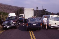 Traffic jam south of Roaring Mountain Photo