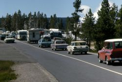 Traffic on old road near Castle Geyser Photo