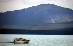 Boat on Yellowstone Lake Photo