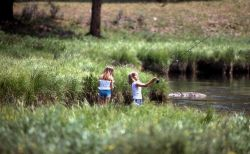 Two girls fishing Photo