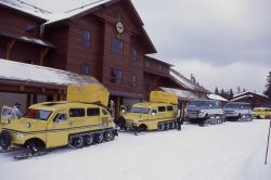 Snowcoaches at Snow Lodge in the winter Photo
