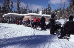 Snowmobiles lined up for gas at Canyon YPSS (Yellowstone Park Service Stations) in the winter Photo