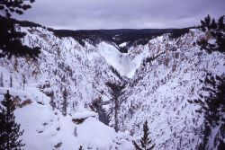 Lower Falls & the Grand Canyon of Yellowstone in the winter Photo