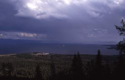 Yellowstone Lake as seen from Elephant Back trail, hotel can be seen Photo