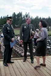 Dedication of the Museum of the National Park Ranger at Norris (Bob Barbee & Joan Anselmo with unidentified man) Photo
