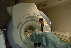 Patient enters MRI machine for brain scan Photo