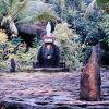 Crossing of the cultures - Roman Catholic shrine on Yapese money wheel Photo